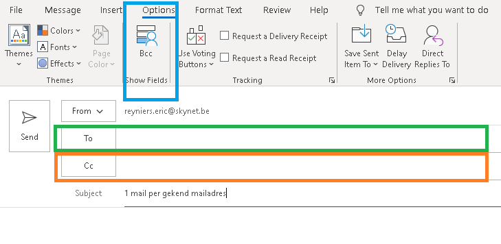 Traditionele adressering in Outlook
